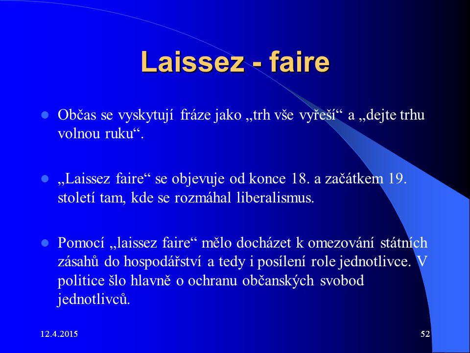 """Laissez - faire Občas se vyskytují fráze jako """"trh vše vyřeší a """"dejte trhu volnou ruku ."""