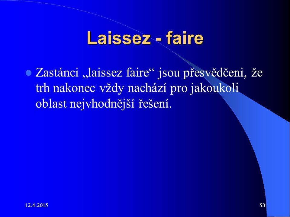 """Laissez - faire Zastánci """"laissez faire jsou přesvědčeni, že trh nakonec vždy nachází pro jakoukoli oblast nejvhodnější řešení."""