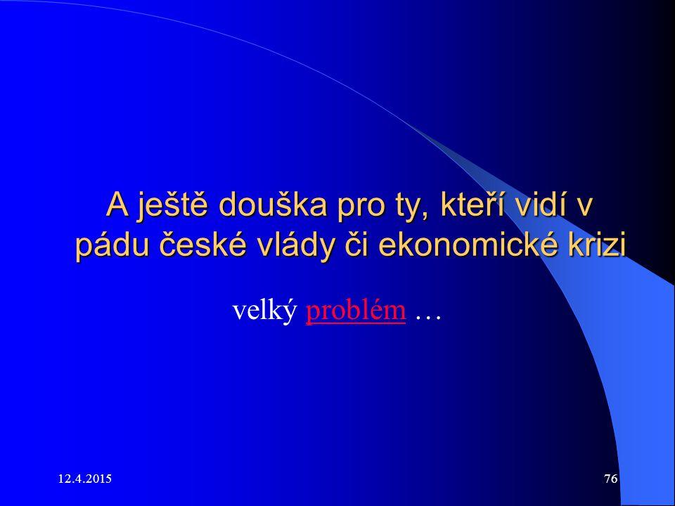 A ještě douška pro ty, kteří vidí v pádu české vlády či ekonomické krizi