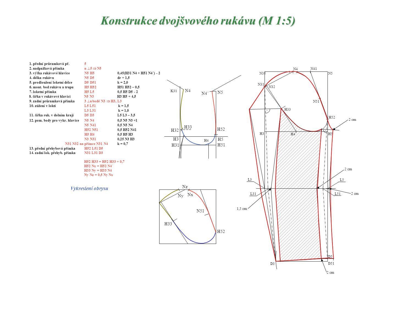 Konstrukce dvojšvového rukávu (M 1:5)