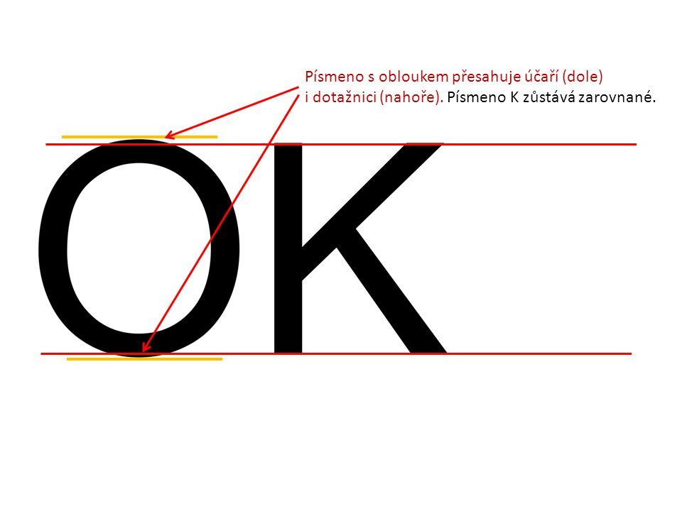 Písmeno s obloukem přesahuje účaří (dole)