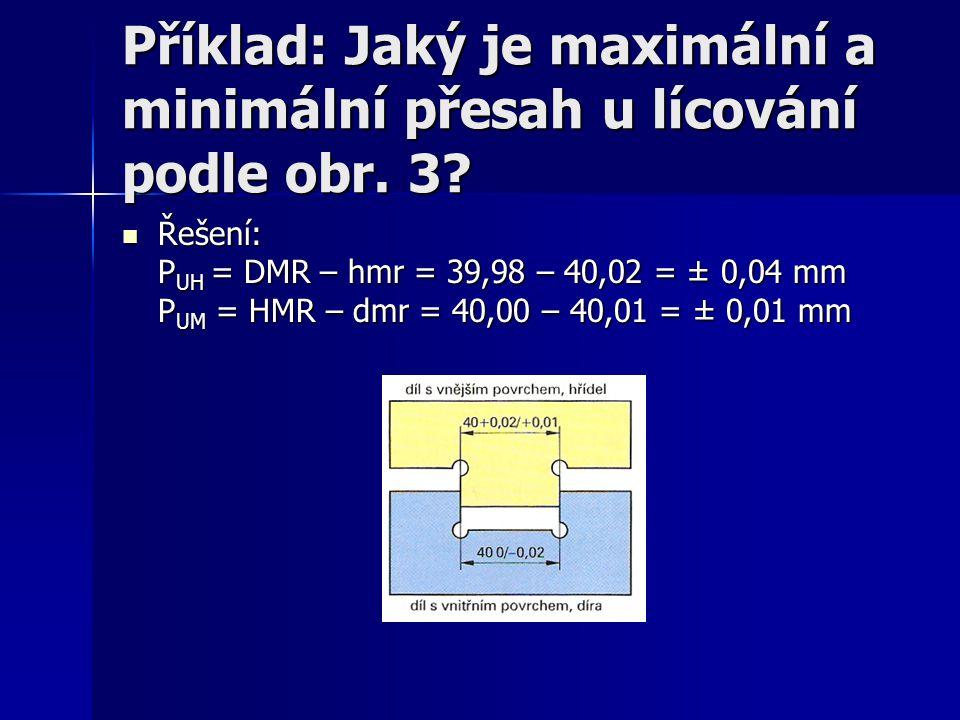 Příklad: Jaký je maximální a minimální přesah u lícování podle obr. 3