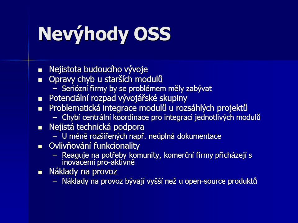 Nevýhody OSS Nejistota budoucího vývoje Opravy chyb u starších modulů