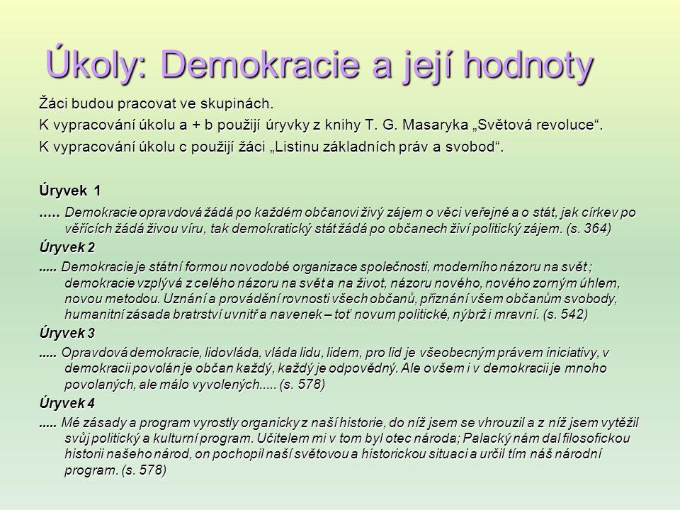 Úkoly: Demokracie a její hodnoty