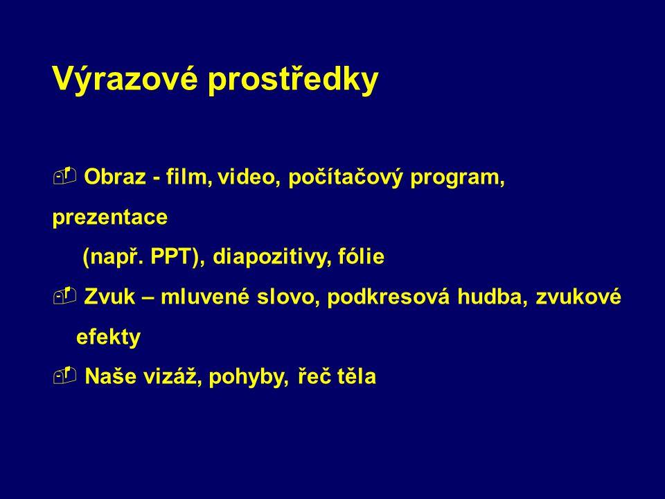 Výrazové prostředky Obraz - film, video, počítačový program, prezentace. (např. PPT), diapozitivy, fólie.