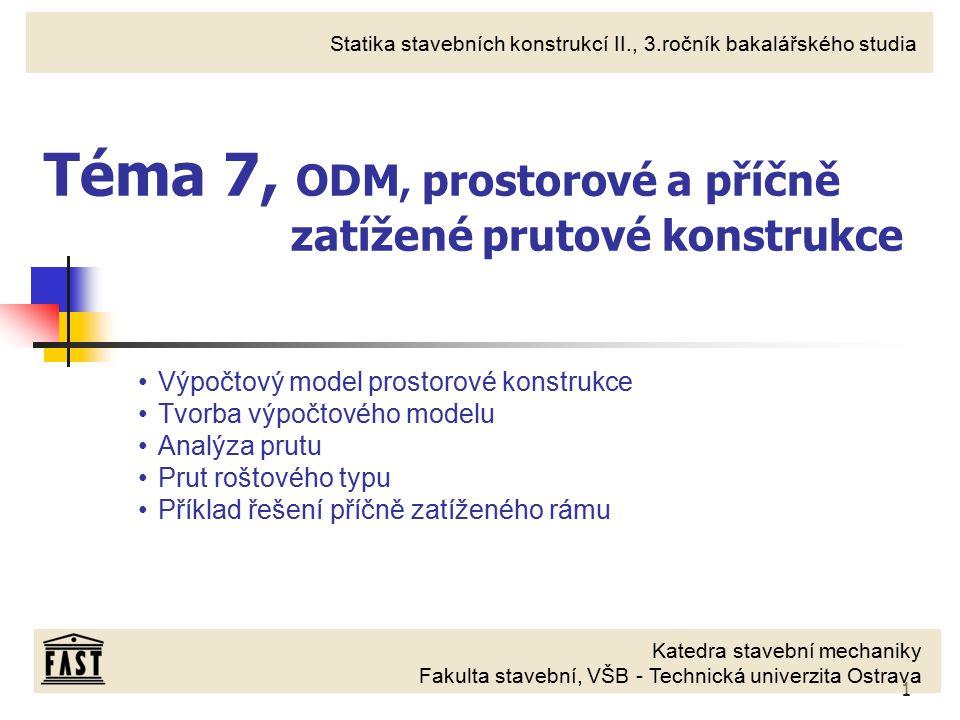 Téma 7, ODM, prostorové a příčně zatížené prutové konstrukce