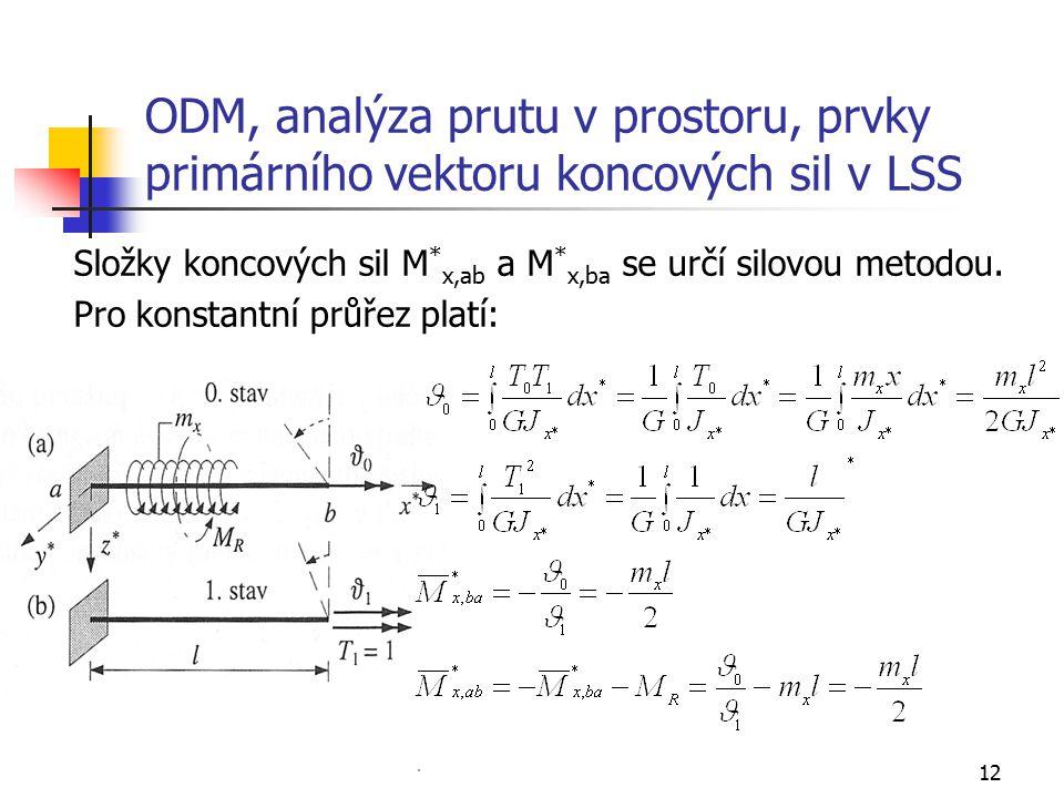 ODM, analýza prutu v prostoru, prvky primárního vektoru koncových sil v LSS