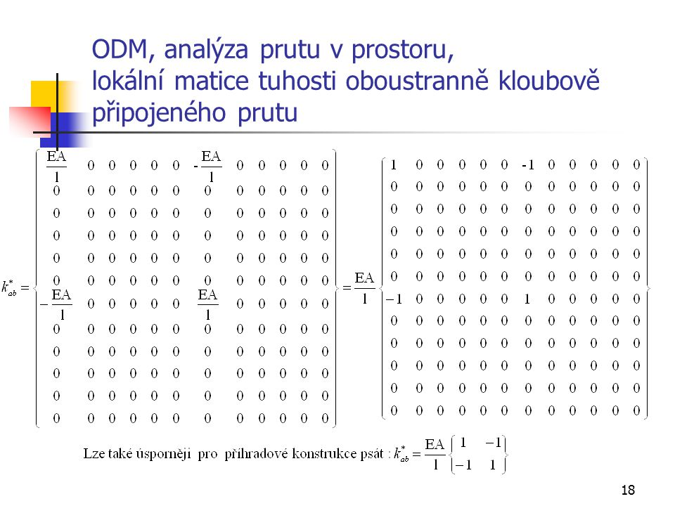 ODM, analýza prutu v prostoru, lokální matice tuhosti oboustranně kloubově připojeného prutu