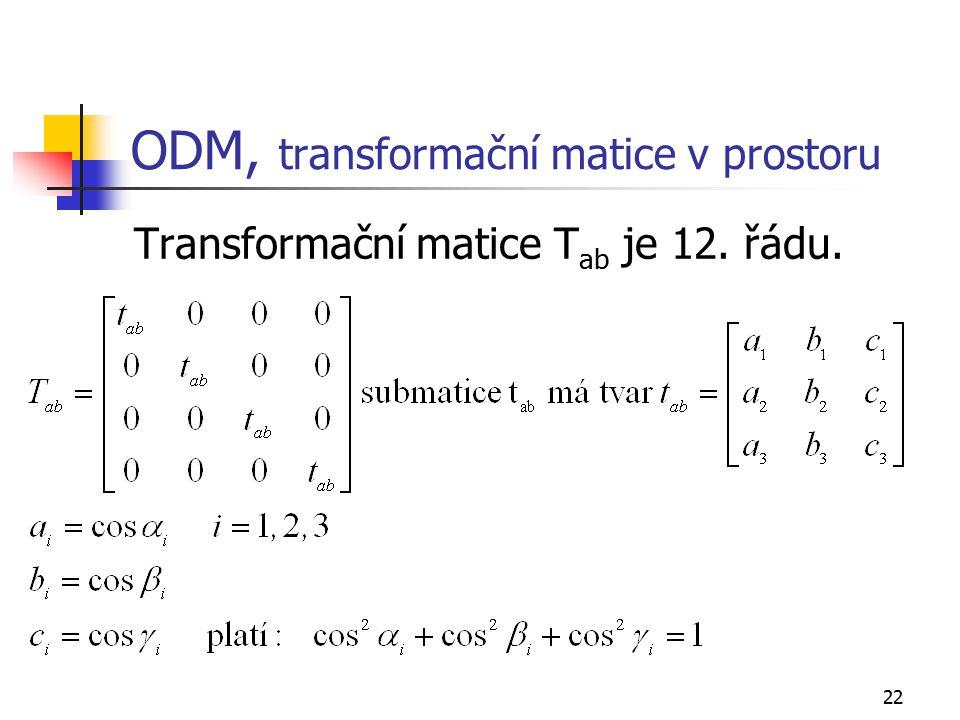 ODM, transformační matice v prostoru