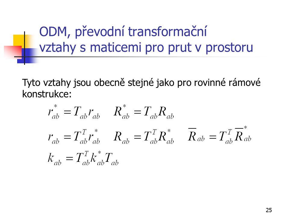 ODM, převodní transformační vztahy s maticemi pro prut v prostoru