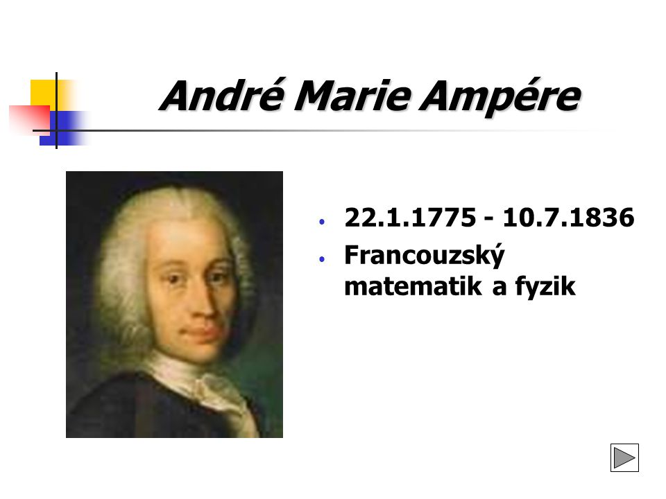 André Marie Ampére 22.1.1775 - 10.7.1836 Francouzský matematik a fyzik