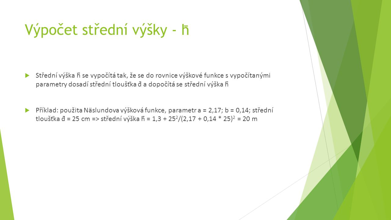 Výpočet střední výšky - h̄