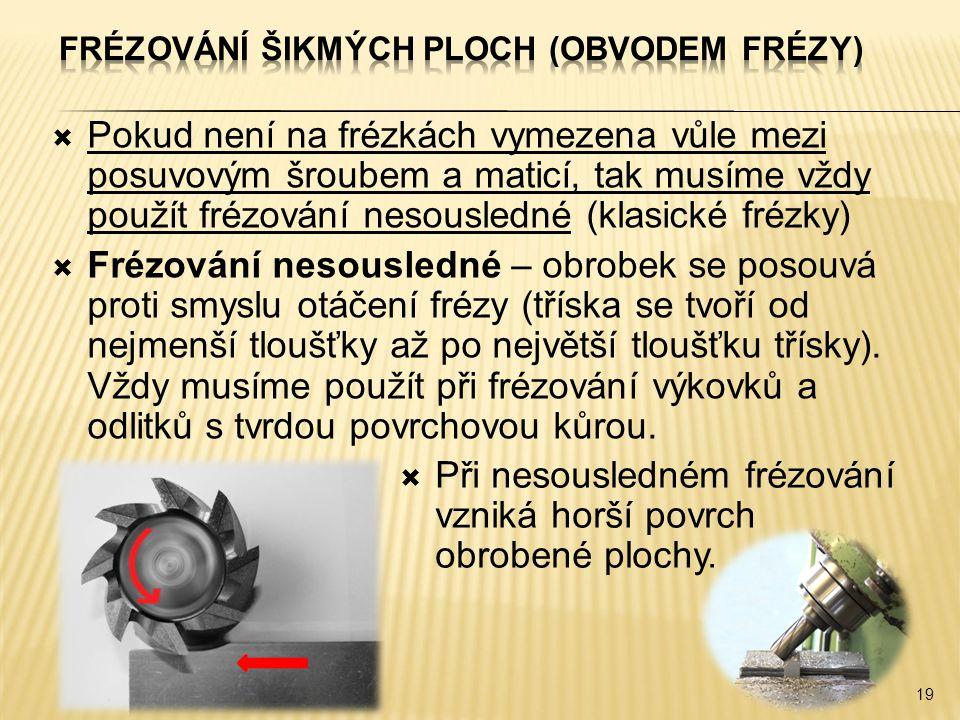 Frézování šikmých ploch (obvodem frézy)