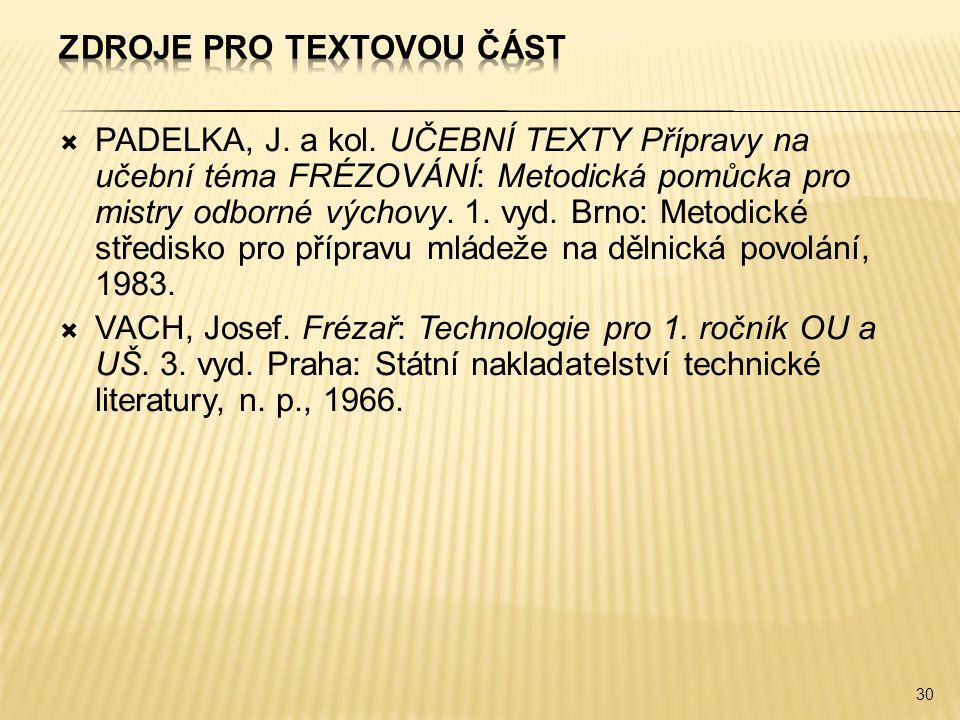 Zdroje pro textovou část