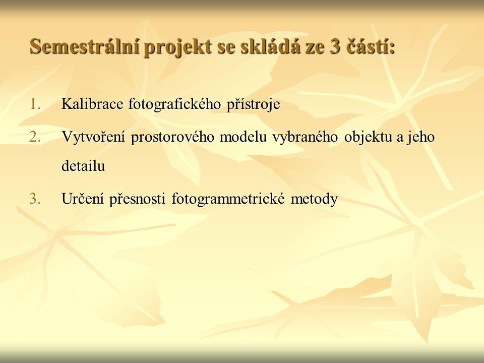 Semestrální projekt se skládá ze 3 částí: