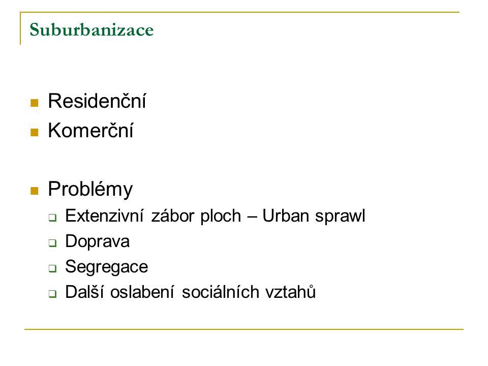 Residenční Komerční Problémy Suburbanizace