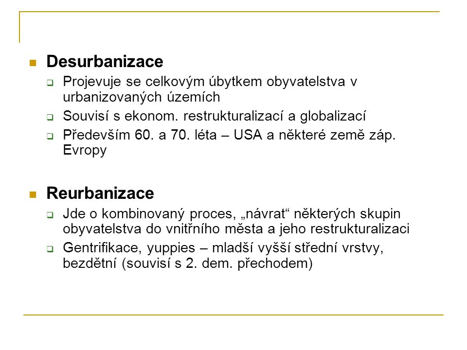 Desurbanizace Reurbanizace
