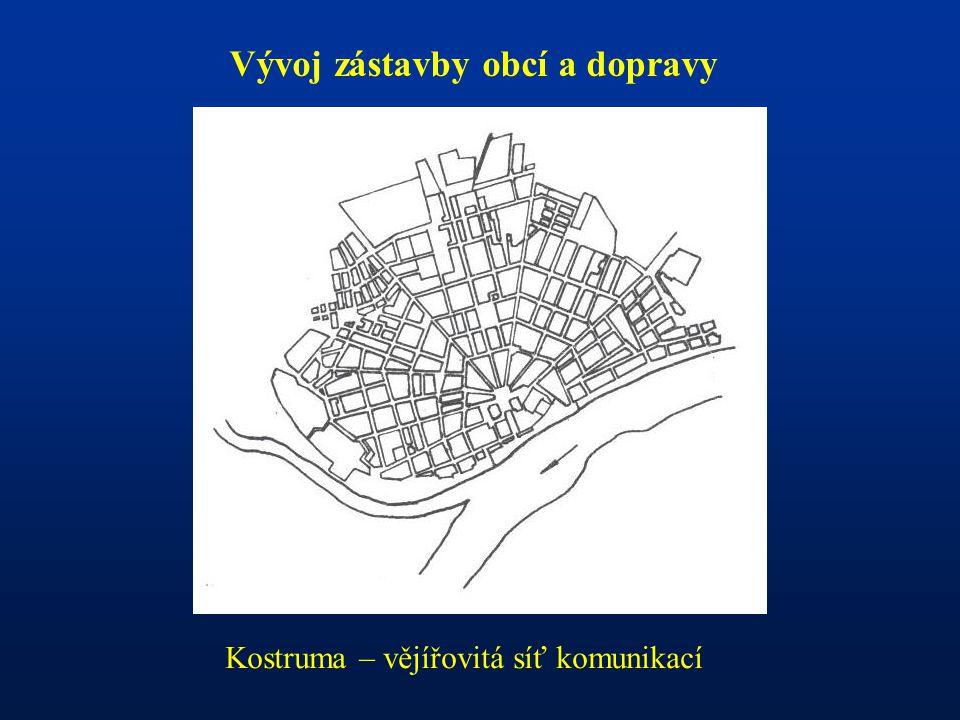 Vývoj zástavby obcí a dopravy