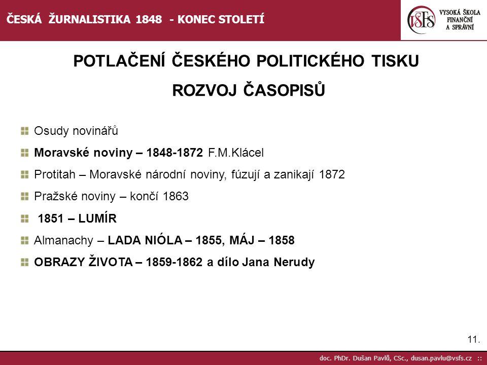 POTLAČENÍ ČESKÉHO POLITICKÉHO TISKU