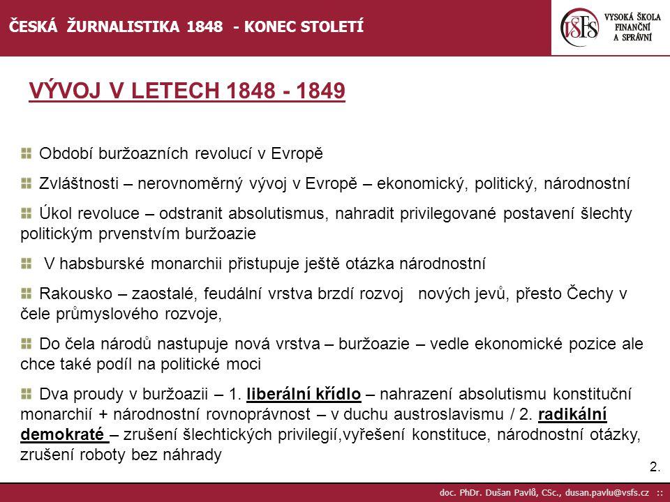 VÝVOJ V LETECH 1848 - 1849 Období buržoazních revolucí v Evropě