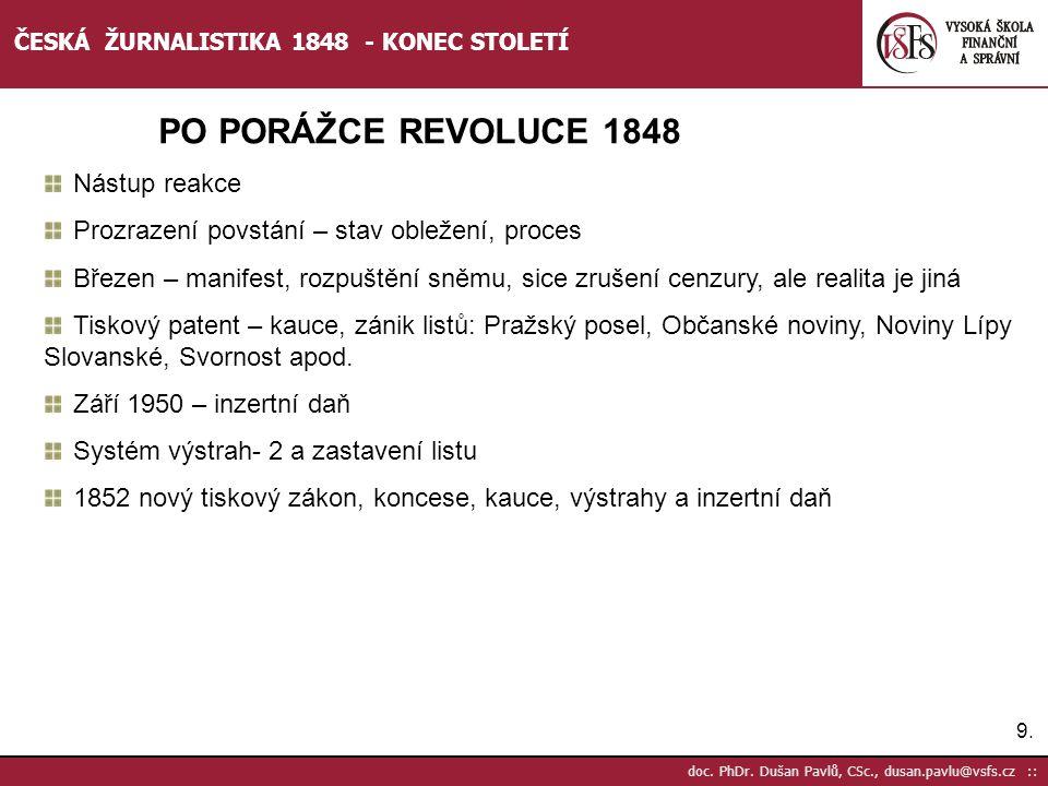 PO PORÁŽCE REVOLUCE 1848 Nástup reakce