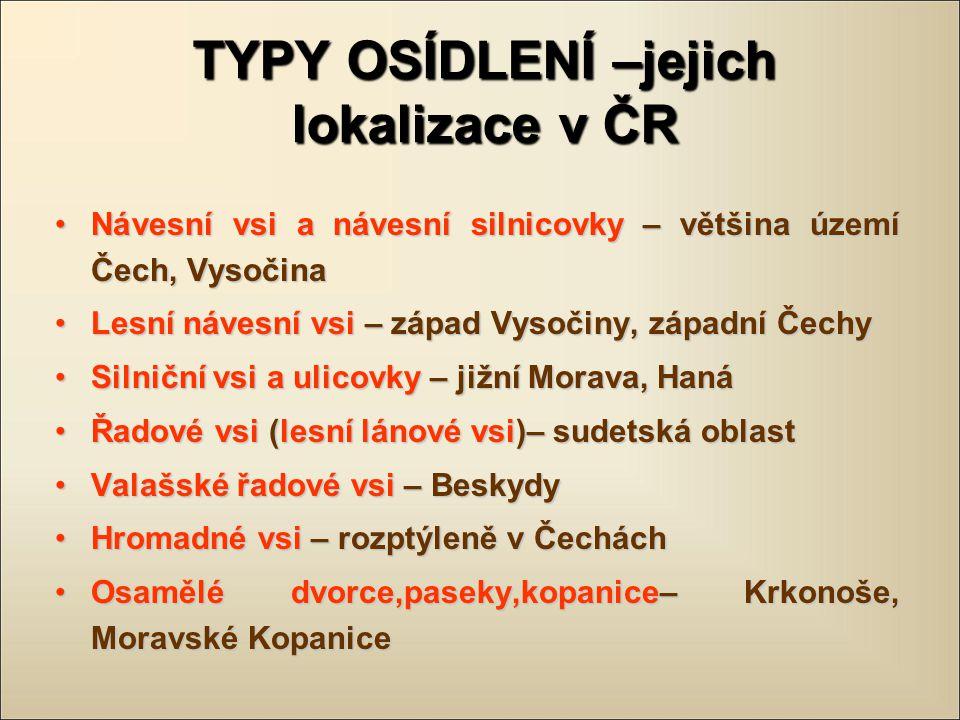 TYPY OSÍDLENÍ –jejich lokalizace v ČR