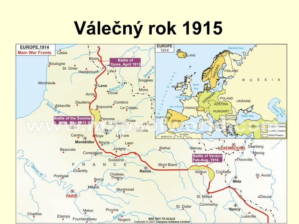 Válečný rok 1915 Západní fronta zákopová válka