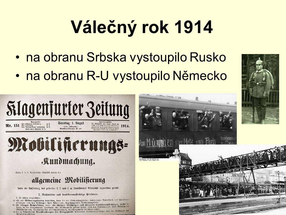 Válečný rok 1914 na obranu Srbska vystoupilo Rusko