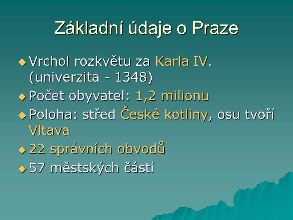 Základní údaje o Praze Vrchol rozkvětu za Karla IV. (univerzita - 1348) Počet obyvatel: 1,2 milionu.