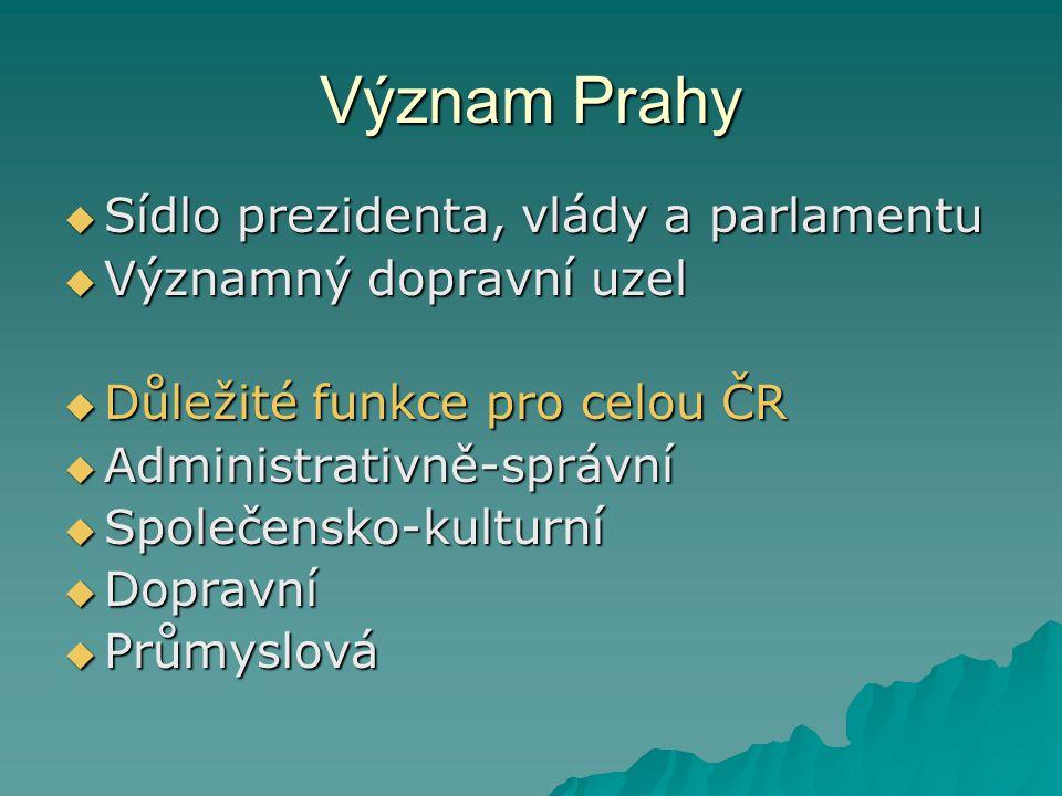 Význam Prahy Sídlo prezidenta, vlády a parlamentu