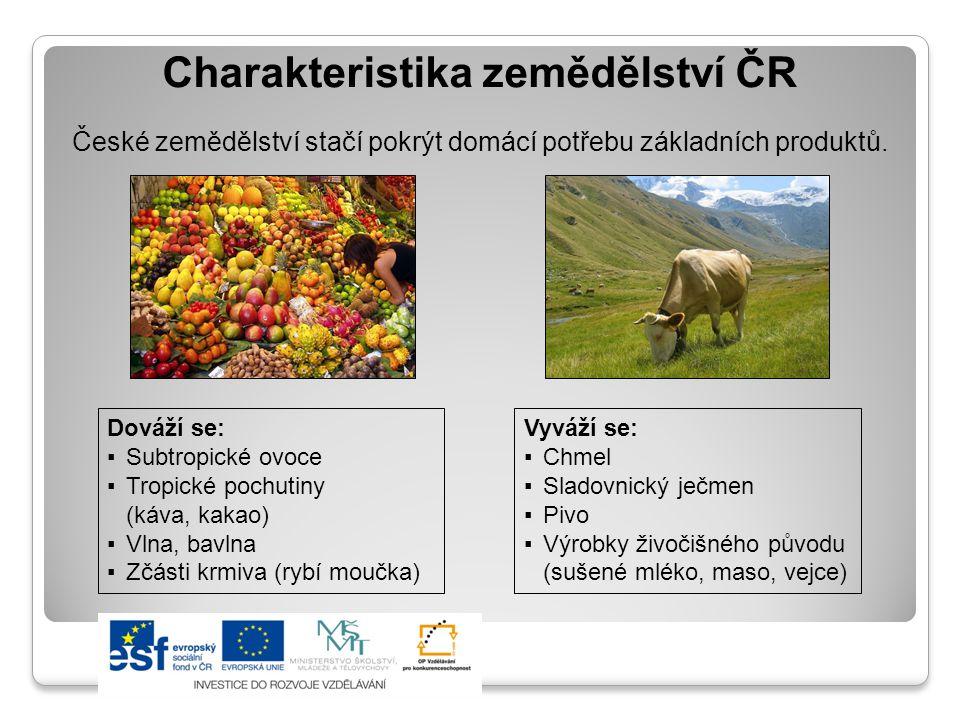 Charakteristika zemědělství ČR