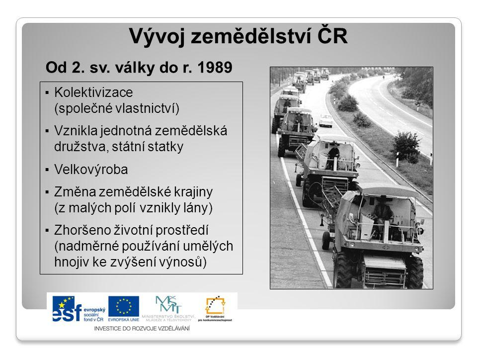 Vývoj zemědělství ČR Od 2. sv. války do r. 1989