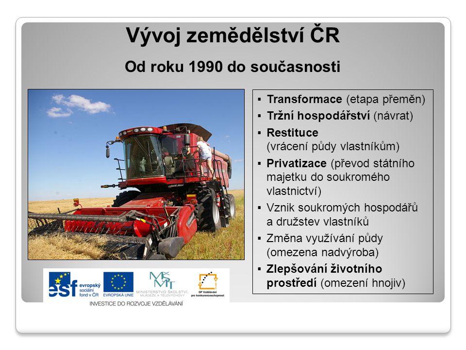 Vývoj zemědělství ČR Od roku 1990 do současnosti