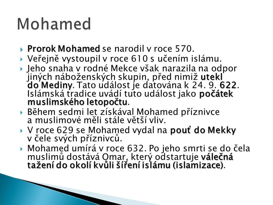 Mohamed Prorok Mohamed se narodil v roce 570.