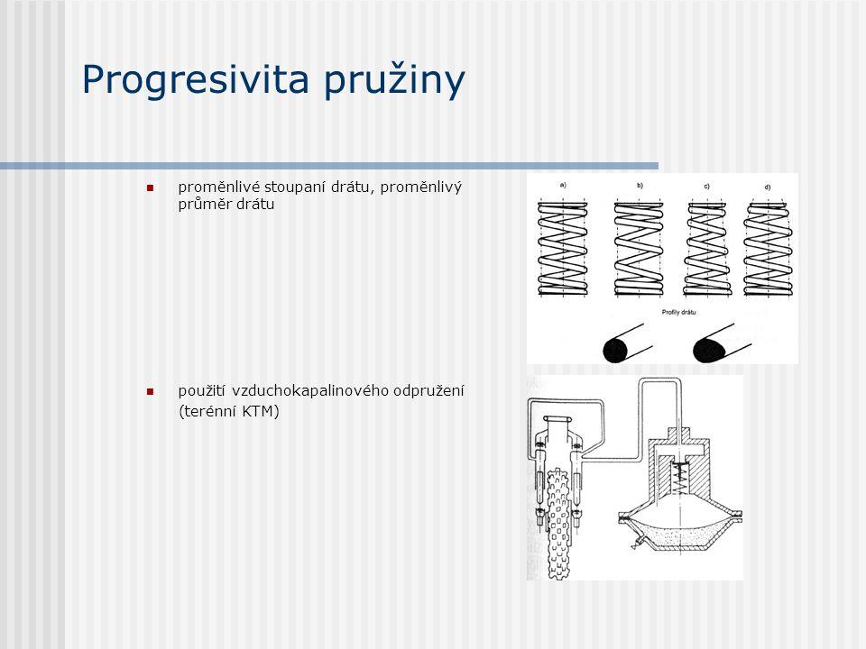 Progresivita pružiny proměnlivé stoupaní drátu, proměnlivý průměr drátu. použití vzduchokapalinového odpružení.