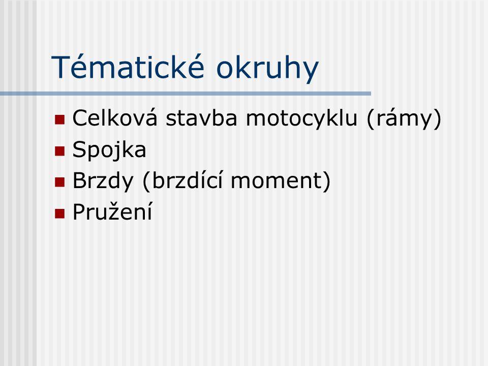 Tématické okruhy Celková stavba motocyklu (rámy) Spojka