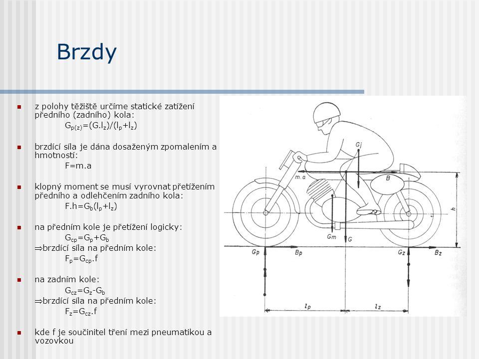 Brzdy z polohy těžiště určíme statické zatížení předního (zadního) kola: Gp(z)=(G.lz)/(lp+lz)
