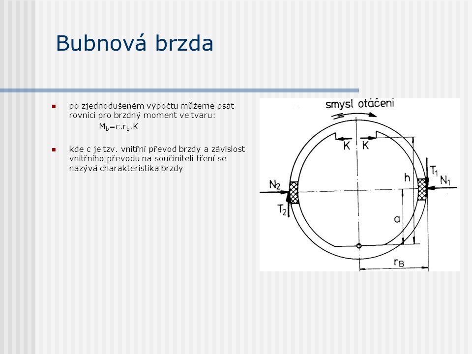Bubnová brzda po zjednodušeném výpočtu můžeme psát rovnici pro brzdný moment ve tvaru: Mb=c.rb.K.
