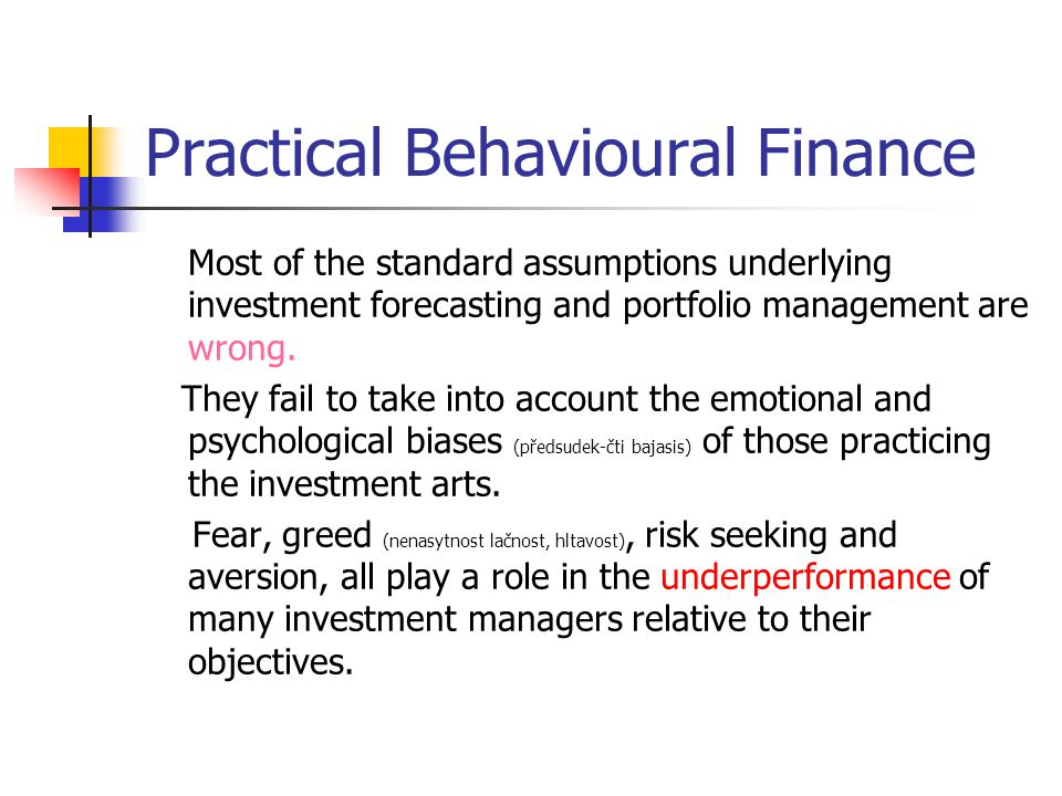 Practical Behavioural Finance