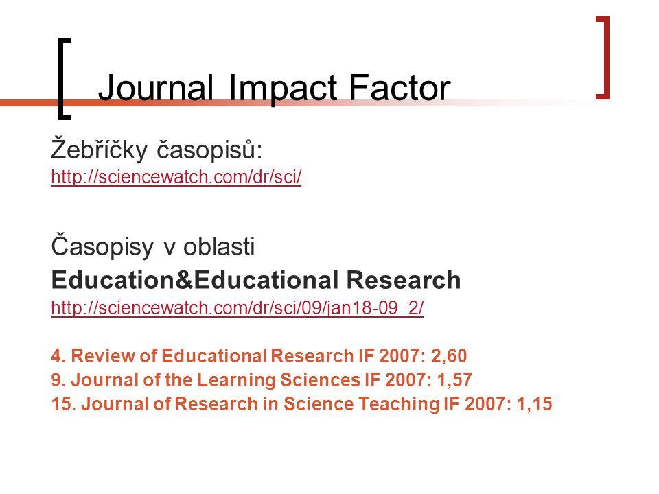 Journal Impact Factor Žebříčky časopisů: Časopisy v oblasti