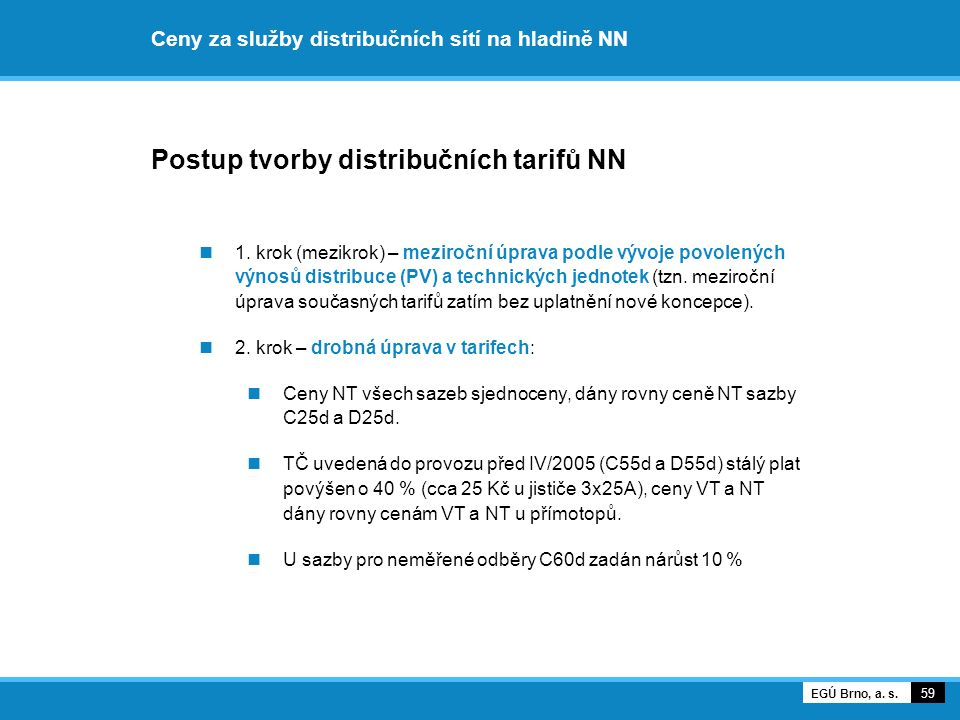 Ceny za služby distribučních sítí na hladině NN