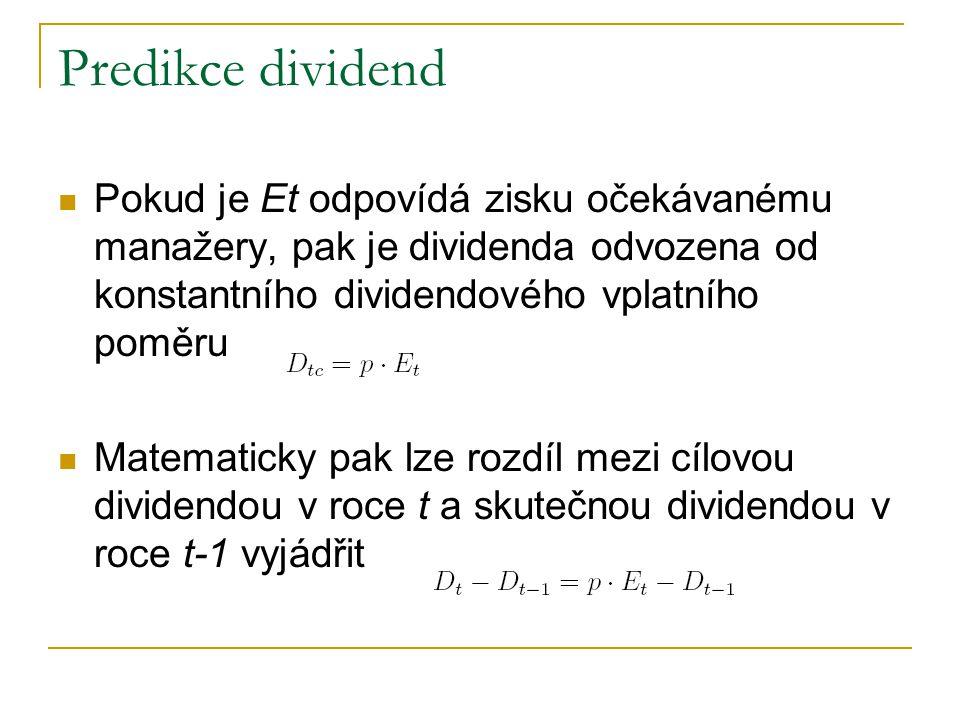Predikce dividend Pokud je Et odpovídá zisku očekávanému manažery, pak je dividenda odvozena od konstantního dividendového vplatního poměru.
