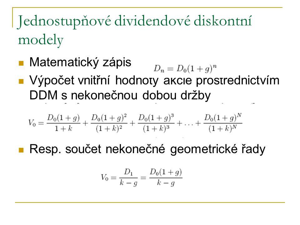 Jednostupňové dividendové diskontní modely