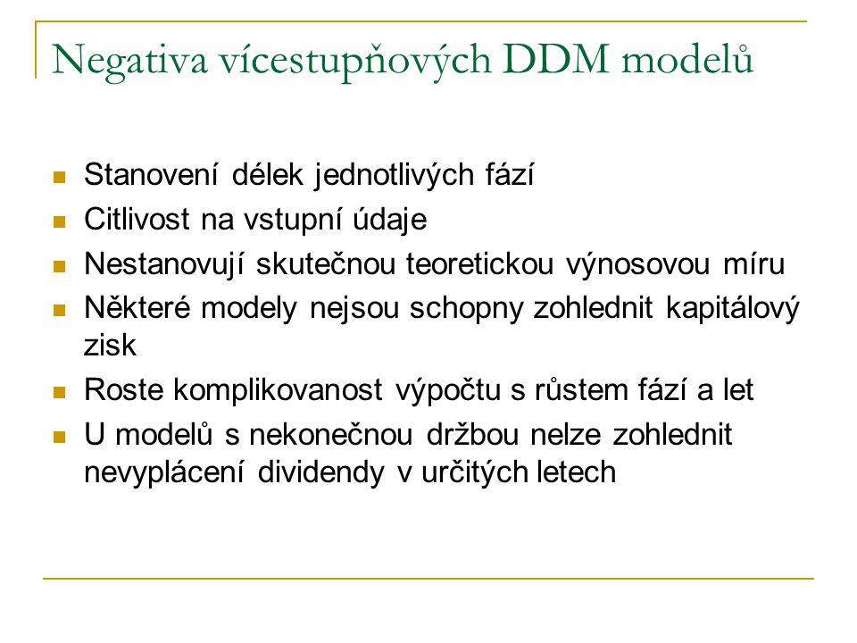 Negativa vícestupňových DDM modelů
