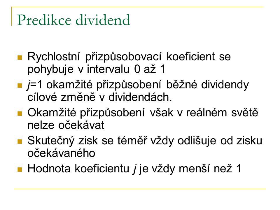 Predikce dividend Rychlostní přizpůsobovací koeficient se pohybuje v intervalu 0 až 1.