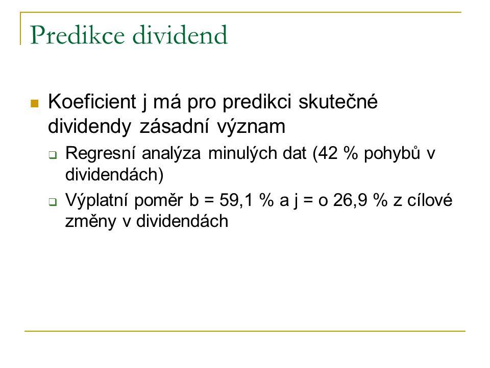 Predikce dividend Koeficient j má pro predikci skutečné dividendy zásadní význam. Regresní analýza minulých dat (42 % pohybů v dividendách)