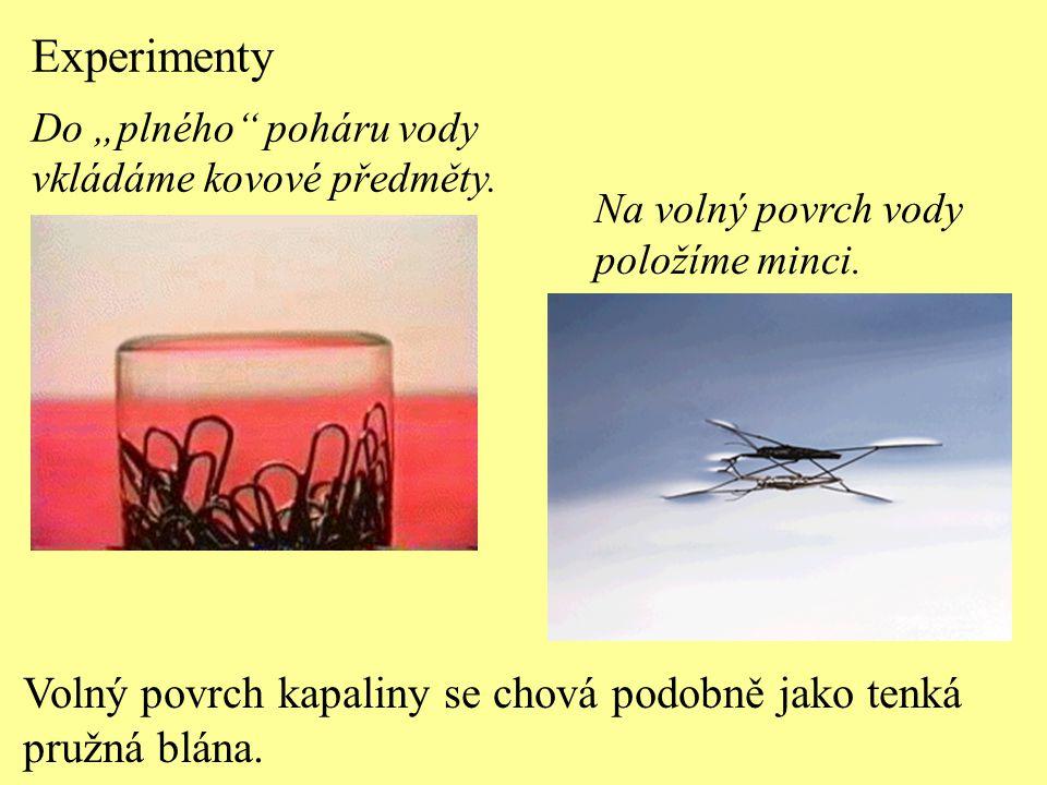 Experimenty Volný povrch kapaliny se chová podobně jako tenká