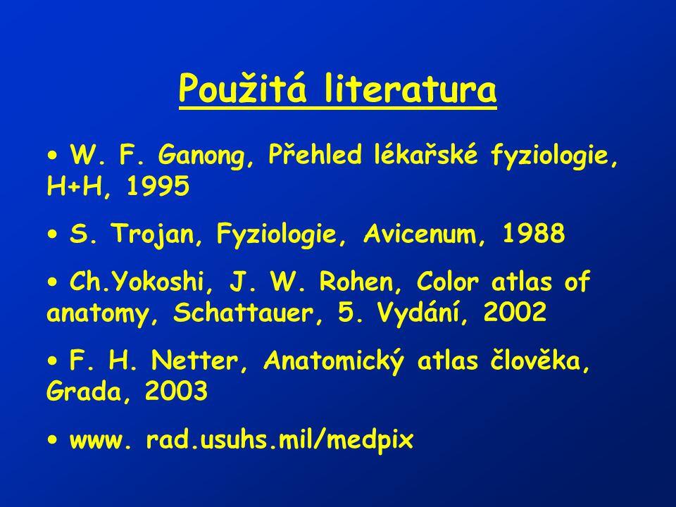 Použitá literatura W. F. Ganong, Přehled lékařské fyziologie, H+H, 1995. S. Trojan, Fyziologie, Avicenum, 1988.