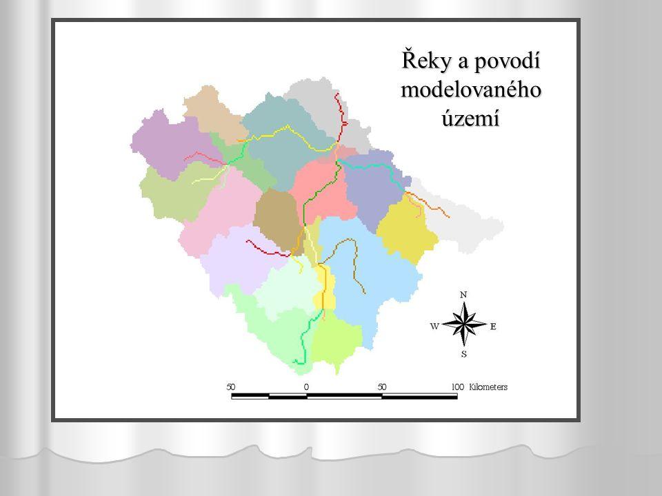 Řeky a povodí modelovaného území