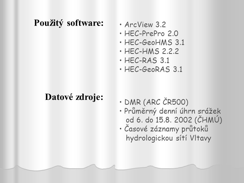 Použitý software: Datové zdroje: ArcView 3.2 HEC-PrePro 2.0